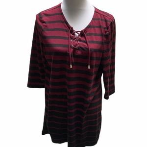 Christopher & Banks Lace up Striped Tunic